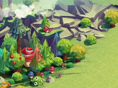 Game Environment Concept fantasy landscape forest tree environment mobile game