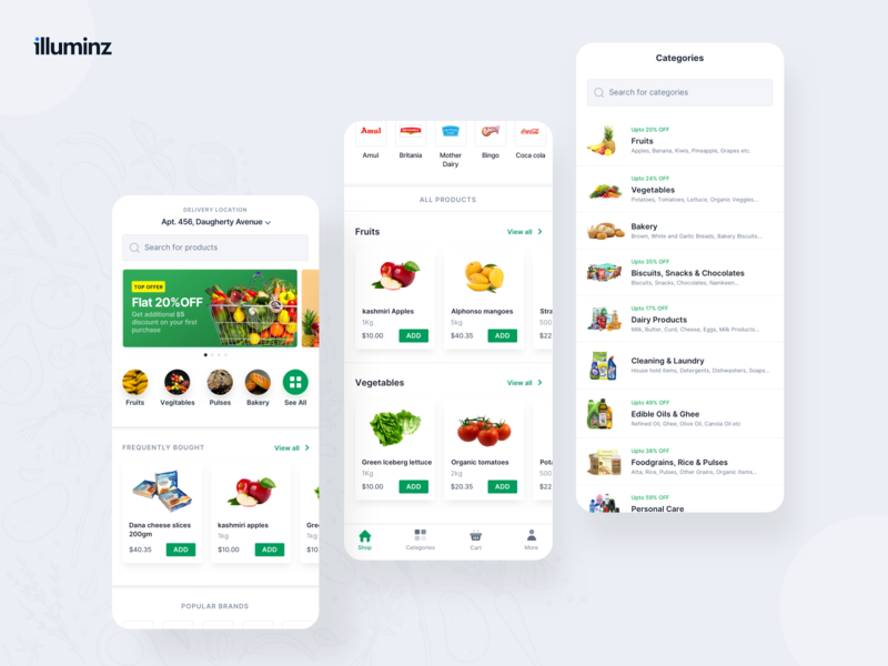 Grocery App inspiration agency mobile app order clean illuminz uiux ecommerce white food app grocery app delivery android ios design app