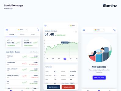 Mobile Application for Stock Platform mobile app ui app ui app design trading chart bussines analytics finance financial market stock ios android uiux illuminz design app clean