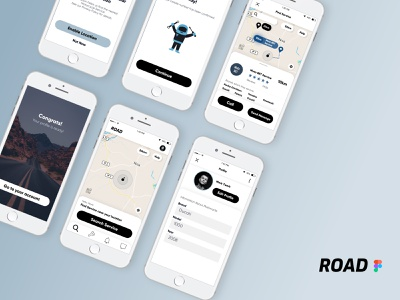 """""""Road"""" Application for Motorcycle Riders designapp user experience userinterface figmadesign figma ui design app application service motorcycle uixui ui ux minimal design"""