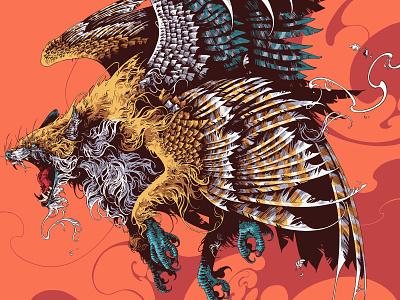 Enfield ipadproart bestiary fox enfield procreate beast coat of arms creature bird drawing feathers graphic ivan belikov illustration
