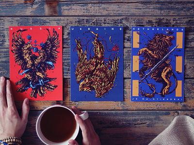 Herbariy / Russia, Ukraine, Netherlands further up illustration ivan belikov graphic herbariy coat of arms russia ukraine netherlands eagle falcon lion