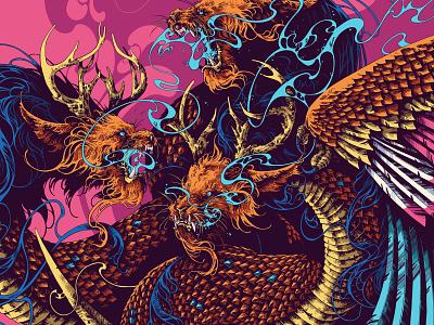 Gorynych digital art ipadproart ipadpro procreate beast creature gorynych dragon feathers graphic further up ivan belikov illustration