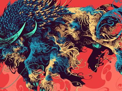 MMXXI nftartist cryptoart nfts nft visual art digital painting digital art ipadproart procreate mmxxi 2021 bull ox creature feathers ivan belikov illustration