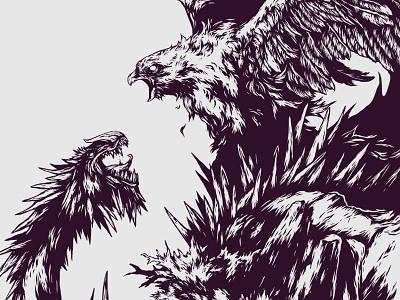 Fragment 11 illustration ivan belikov further up graphic herbariy bird dragon