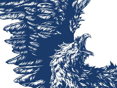 Fragment 12 illustration ivan belikov further up graphic herbariy bird eagle feathers