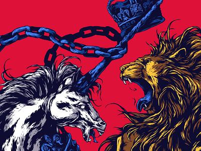 Herbariy / United Kingdom ivan belikov illustration further up graphic lion united kingdom uk herbariy coat of arms unicorn