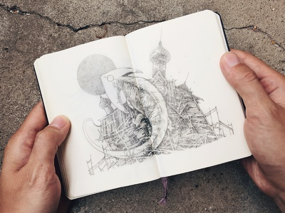 Diplocaulus pencil graphic handdrawing moleskine sketchbook sketch diplocaulus illustration further up ivan belikov