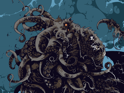 The Great Old One digital art lovecraft octopus great old one cthulhu graphic art illustration further-up ivan belikov