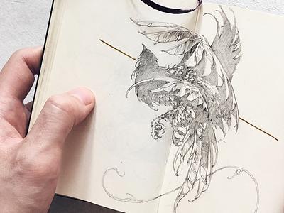 Fairy ivanbelikov further-up illustration sketch moleskine sketchbook pencil bird fairy feathers