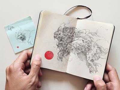 Komainu feathers komainu pencil sketchbook moleskine sketch illustration further-up ivanbelikov