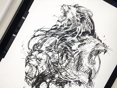Lionheads / xxx sketch ivan belikov further-up ivanbelikov lions lionheads process sketch xxx procreate ipadpro graphic
