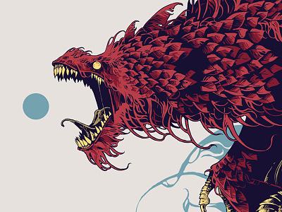 Wyvern beast creature digital ink digital art further-up ivan belikov feathers wyvern ipadpro procreate illustration