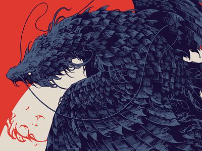 Poloz ipadpro procreate dragon beast creature poloz fragment feathers graphic further up ivan belikov illustration