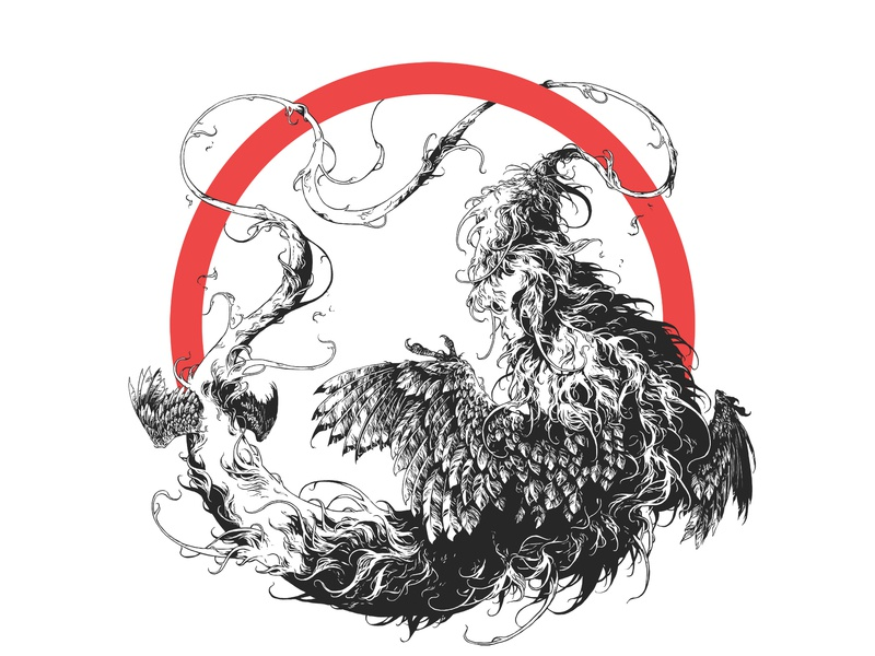 Ouroboros wacom photoshop bestiary creature beast ouroboros drawing feathers graphic further up ivan belikov illustration