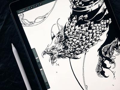 Thunderbird beast bestiary feathers eagle thunderbird bird drawing digital art further up ivan belikov ipad pro illustration procreate graphic