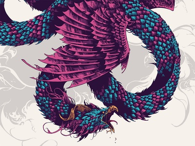 Fantastic Beasts / Occamy ipad pro procreate occamy fantastic beasts serpent beast creature drawing feathers graphic further up ivan belikov illustration
