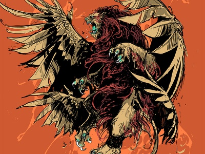 Impericon Festivals 2019 procreate ferocity impericon creature beast lion sketch drawing feathers graphic further up ivan belikov illustration