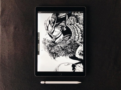 Peryton ipad pro procreate digital art peryton creature art drawing feathers graphic further up ivan belikov illustration
