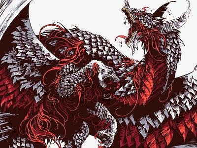 Domine dirige nos line art drawing digital ink digital art coat of arms bestiary beast creature dragon procreate illustration further up ivan belikov ivanbelikov