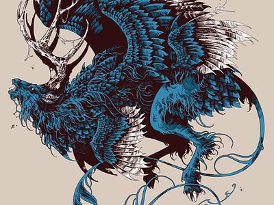Peryton art digital ink digital art procreate stag beast creature peryton drawing feathers graphic further up ivan belikov illustration