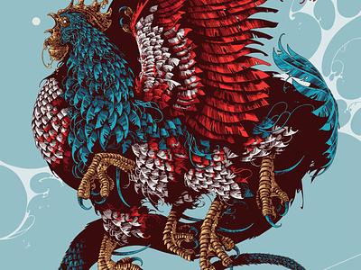 Basilisk digital ink digital art ipadproart procreate basilisk rooster beast creature drawing feathers graphic further up ivan belikov illustration