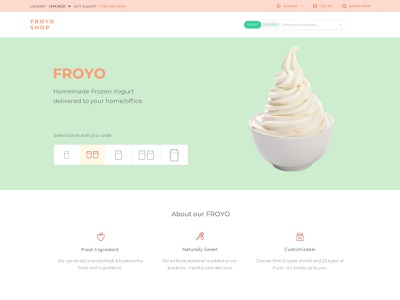FROYO landing page marketing site food and drink food sketch marketing frozen yogurt uidesign ui