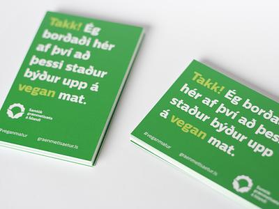 Takk! green print cards thanks thank vegan