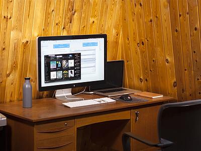 Home Studio desk wood panel screen studio home