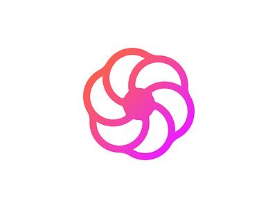 Logo Exploration sphere round dots circle gradient propeller flower spiral experiment logo