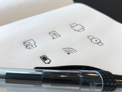 Sketching icons wifi carousel chat folder clock battery outlined paper pen sketching drawing icons