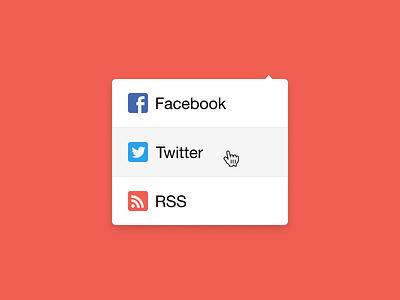 Social Dropdown figma accounts feed rss hover twitter facebook dropdown media social