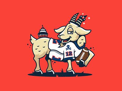 G.O.A.T. corey reifinger branding character design mascot tom brady nfl football graphic design vector johnny cupcakes illustration