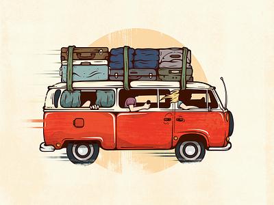 Road Trip. illustration vector van road trip vacation summer transportation car corey reifinger