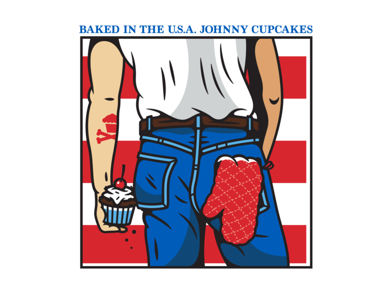 The Boss. vector july 4th usa fourth of july bruce springsteen johnny cupcakes illustration