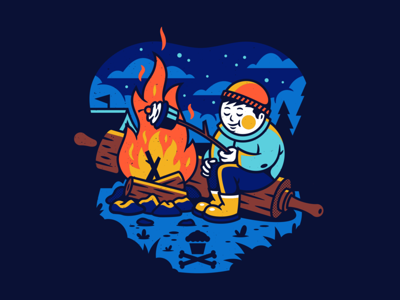 Campfire. camping summer nights bonfire campfire typography corey reifinger illustration johnny cupcakes