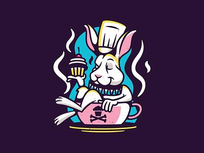 White Rabbit. rabbit alice in wonderland corey reifinger badge type logo branding vector graphic design typography illustration johnny cupcakes