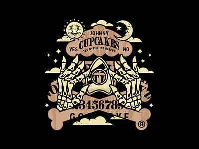 Ouija. games skeleton hands bones ouija board halloween branding graphic design typography vector logo johnny cupcakes corey reifinger illustration