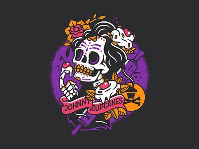 Day of the Dead. bones flowers day of the dead dia de muertos skeleton skull badge branding graphic design typography type vector logo johnny cupcakes corey reifinger illustration