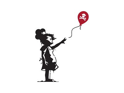Bakesy. logo corey reifinger baking balloon girl banksy street art graffiti art branding graphic design vector johnny cupcakes illustration