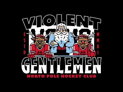 Coach Claus. violent gentlemen character design mascot rudolph hockey winter santa corey reifinger typography type logo vector illustration
