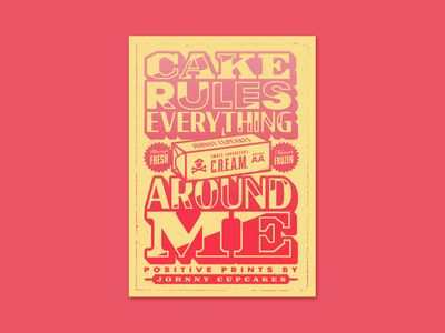 Positive Prints. cream print design poster design cake lettering graphic design type typography logo corey reifinger johnny cupcakes illustration