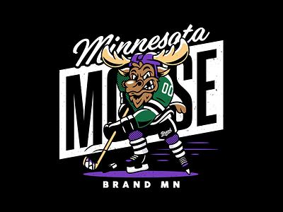 Moose. hockey minneapolis branding characterdesign mascot moose minnesota typography type vector corey reifinger illustration