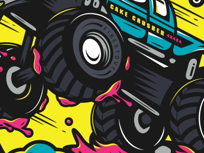 Crush. motor sports illustration johnny cupcakes mud monster truck
