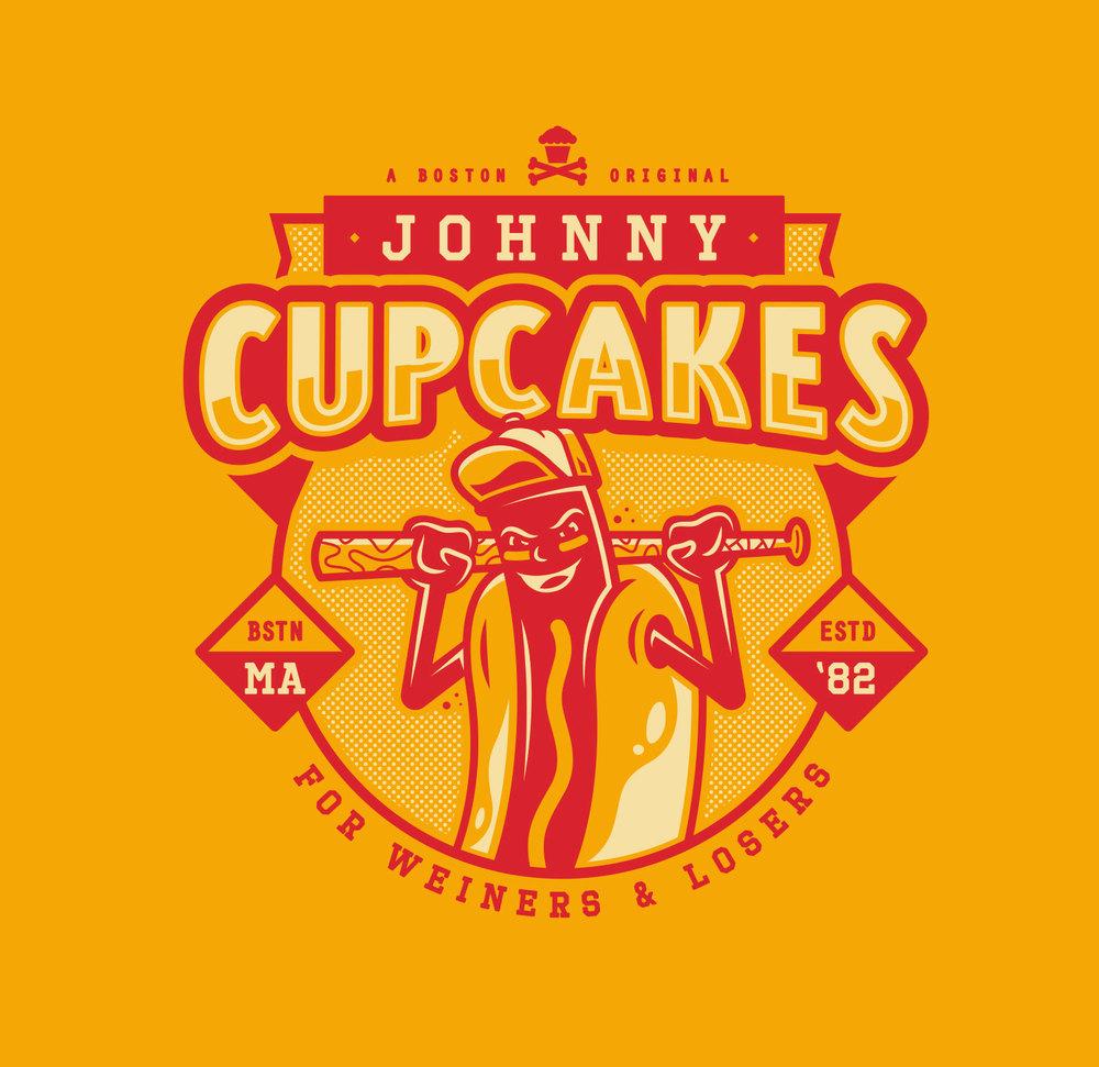 Hot Diggity Dog. corey reifinger boston johnny cupcakes shirt design logo illustration weiner hot dog baseball