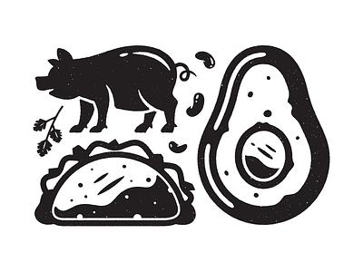 Numero Quatro. corey reifinger booze illustration icons burrito guacamole margarita food mexican