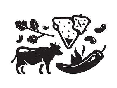 Numero Cinco. hot sauce corey reifinger booze illustration icons nachos burrito margarita food mexican
