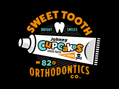 Sweet Tooth. johnny cupcakes teeth dental dentist toothpaste typography type illustration