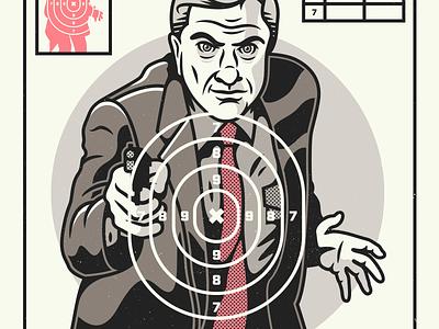 Naked Gun. g1988 corey reifinger target practice film comedy leslie nielsen cinema poster design movie poster illustration