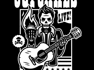 Cash. corey reifinger skull guitar gig poster western type graphic deisgn illustration country music country johnny cash johnny cupcakes